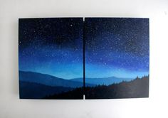 Night Sky Diptych Oil Painting by TreeHollowDesigns on Etsy