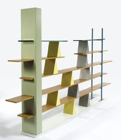 """ANDREA BRANZI, A RARE AND EARLY """"GRITTI"""" BOOKSHELF, ash, enameled steel, laminate and glass, 80 1/8 x 132 1/8 x 12 in. (203.5 x 335.6 x 30.5 cm), circa 1981. produced by Memphis, Milan ESTIMATE 8,000 - 12,000 US"""