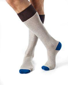 Hank- Combed Organic Cotton Micro Stripe Dress Socks by Zkano - $17.00  Made in Alabama