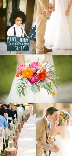 Rustic Wedding With Pops Of Pink - Style Me Pretty