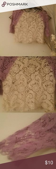 Adorable crochet lace top Size medium, Delia's, cream and lilac crochet lace crop top. Would look adorable layered with a Cami. Delias Tops Crop Tops