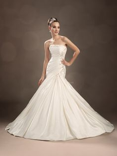 Strapless Fit N Flare Satin Floor Length Wedding Dress With Ruching
