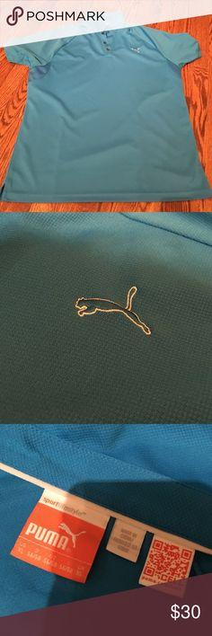 Men's puma gold shirt Carolina panther blue/teal gold shirt. Basically in new condition!! Puma Shirts Polos