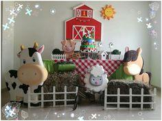 DECORACIÓN MESA TEMA: LA GRANJA Farm Animal Party, Farm Animal Birthday, Farm Birthday, Baby 1st Birthday, Farm Party, Boy Birthday Parties, Birthday Balloons, Cowgirl Party, Happy Party