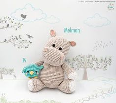 Pattern Free Amigurumi Hippo Melman and his friend Pi Bird. Come to know us for our facebook and website. Patrón gratis Amigurumi Hipopótamo Melman y su amigo Pi. Pasa a conocernos por nuestro facebook y sitio web. https://www.tarturumies.com https://www.facebook.com/Tarturumies/