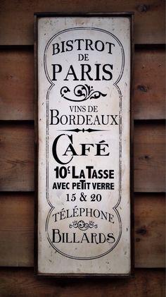 Vintage wooden sign 'Bistrot de Paris' by VASSdesign on Etsy
