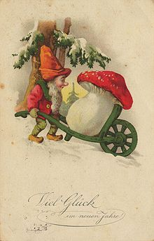 """Amanita muscaria, the most easily recognised """"toadstool"""", is frequently depicted in fairy stories and on greeting cards. It is often associated with gnomes."""