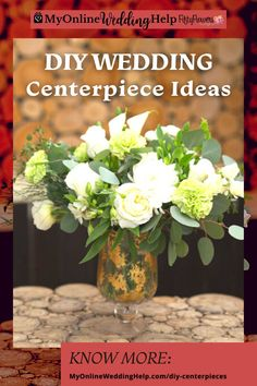 DIY wedding centerpieces ideas. Tips for arranging, Plus inspiration for adding lanterns, candles, other vases, or rustic bark elements. Part of the DIY Wedding Centerpieces with Flowers post on MyOnlineWeddingHelp.com