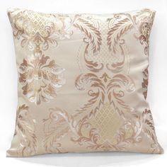 vc08a Irvoy Brown Gold Metalic Damask Khaki Thick Cotton Blend Cushion Cover #FelizTheHome