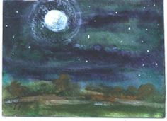 ACEO  NOVEMBER MOON mini nocturne painting by by jimsmeltzgallery, $15.00