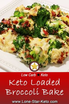 Diet Meals Keto Loaded Broccoli Bake ⋆ Sides ⋆ Lone Star Keto - Rich and decadent comfort food full of cheesy goodness. This Keto Loaded Broccoli Bake may even get the pickiest of veggie eaters to give it a go. Keto Broccoli Recipe, Broccoli Bake, Asparagus Recipe, Ketogenic Recipes, Diet Recipes, Cooking Recipes, Healthy Recipes, Keto Veggie Recipes, Keto Foods