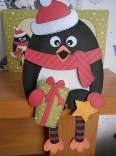 3D On the Shelf Card Kit - Christmas Pip Penguin has a Present and Star - Photo by BECCY WILTON