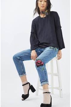 Alternate Image 2  - Topshop Floral Embroidered Mom Jeans