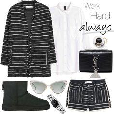 work_wear_ugg Cold Day, Cat Eye Sunglasses, Work Wear, Uggs, Calvin Klein, Blazer, Shorts, Ugg Boots, Mango