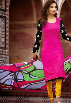 A trendy contrasting coloured Magenta & Yellow Color Cotton Designer Salwar Kameez with beautiful white embroidery on black sleeves