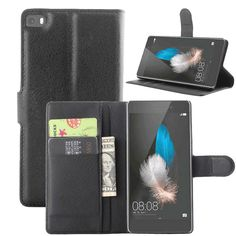 PU Leather Wallet Phone Cases for Huawei P8 lite Case ALE-L21 Flip Cover Stand Magnetic Skin Carcasa Capa Coque + Card Holder