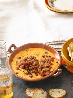 Queso Fundido with Roasted Poblano Peppers and Chorizo Recipe - Country Living