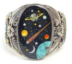 Inlaid galaxy planet Zuni stone and sterling silver cuff