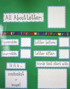 language arts posters All About Letter Poster Kindergarten Language Arts Kindergarten Language Arts, Preschool Letters, Letter Activities, Learning Letters, Kindergarten Literacy, Teaching Kindergarten, Kindergarten Classroom, Kindergarten Posters, Writing