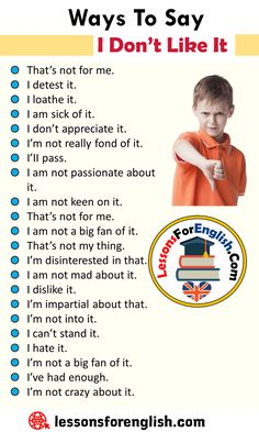 Ways To Say I Don't Like It, English Phrases Examples - Lessons For English Essay Writing Skills, Book Writing Tips, English Writing Skills, Writing Words, English Learning Spoken, Teaching English Grammar, English Language Learning, English Idioms, English Phrases