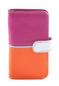 RIO  Handmade luxury italian leather magenta and orange phone case  with silver flap