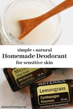 Learn how to make a simple deodorant that is perfect for sensitive skin. If you are concerned about the toxic ingredients in conventional deodorants this recipe is for you. It is super easy to make and your armpits will not get irritated, plus it smells a Deodorant Recipes, Homemade Deodorant, Homemade Skin Care, Natural Deodorant, Diy Skin Care, Anti Aging Skin Care, Natural Skin Care, Doterra, Lemon Essential Oils
