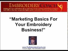 Marketing Basics for your Embroidery Business! Click on the link to watch video http://youtu.be/Ymj4_B30FHY
