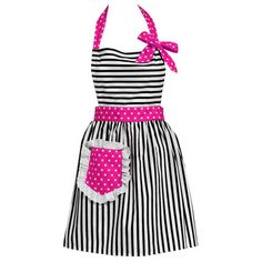 Striped Apron with Pink Accent.