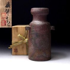 TA8-Vintage-Japanese-Pottery-Vase-Bizen-Ware-with-Signed-wooden-box-8-7-inches Japanese Pottery, Pottery Vase, Vintage Japanese, Wooden Boxes, Wooden Signs, Home Decor, Japanese Ceramics, Wood Boxes, Wooden Plaques