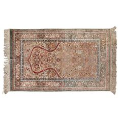(11DA) A Hand-Knotted Silk and Gold Thread Rug n\A Hand-Knotted Silk and Gold Thread Rug 1600 x 950mm Decorative Arts… / MAD on Collections - Browse and find over 10,000 categories of collectables from around the world - antiques, stamps, coins, memorabilia, art, bottles, jewellery, furniture, medals, toys and more at madoncollections.com. Free to view - Free to Register - Visit today. #Rugs #Carpets #Textiles #MADonCollections #MADonC