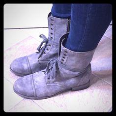 MIA combat boots Gray distressed look combat boots. Lightly worn. Super comfortable! MIA Shoes Combat & Moto Boots
