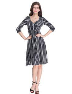 bc270f5bd1a SueandJoe Womens Polka Dot Knee Length High Waist Pleated Summer 3 4 Sleeve Dresses  Black