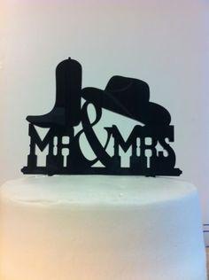 MR MRS Western Rustic Cowboy Boot Hat Bride Groom Wedding Cake Topper Decoration…
