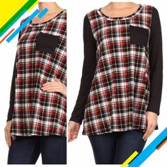 """CUTE PLAID TOP WITH POCKET Duo fabric, plaid print with solid sleeves and back. Round neckline, loose fit. 95% rayon, 5% spandex. Made in USA NWOT.   ♦️SMALL: bust 36""""♦️MEDIUM: bust 38""""♦️LARGE: bust 40""""PLEASE DO NOT BUY THIS LISTING! I will personalize one for you. tla2 Tops"""