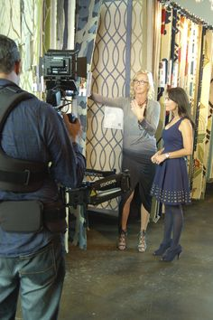 At the Surya showroom, Candice Olson discussing her new line of outdoor rugs, pillows and poufs with Karen LeBlanc of The Design Tourist. #candiceolson #interiordesign #homedecor