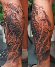 koi tattoo on the calf