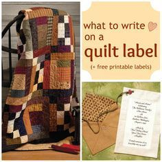 What to write on a quilt label + FREE printable labels
