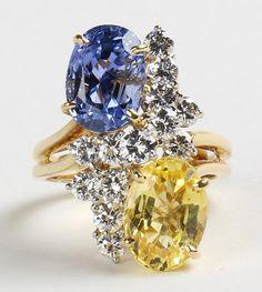 Oscar Heyman sapphire, diamond, 18k yellow gold and platinum ring