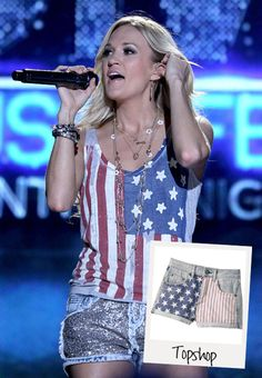 Country Muisc SInger carrie underwood rocks topshop flag jeans during the country music festival