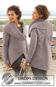 Ravelry: 126-1 Jacket knitted in a circle with leaf pattern by DROPS design