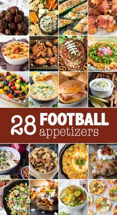 28 of the best football appetizers! Snacks for tailgating, celebrations and watching football! Tailgate Appetizers, Game Day Appetizers, Tailgating Recipes, Finger Food Appetizers, Easy Appetizer Recipes, Best Appetizers, Grilling Recipes, Easy Tailgate Food, Game Day Snacks
