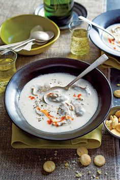 Classic Oyster Stew - There are countless versions of this simple, elegant stew. To achieve the perfect texture of just-cooked oysters, poach them in the milk until their edges begin to curl, set aside, and return them to the stew just before serving. Quick Soup Recipes, Fall Soup Recipes, Chili Recipes, Dinner Recipes, Bowl Of Soup, Soup And Salad, Seafood Recipes, Cooking Recipes, Seafood Dishes