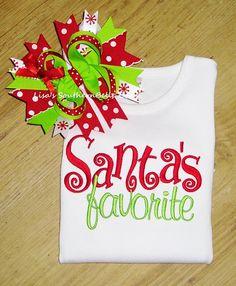 Santa's Favorite Christmas Shirt Christmas by SouthernBelleBows Christmas Vinyl, Christmas Love, Christmas Shirts, Christmas Holidays, Christmas Crafts, Grinch Christmas, Kids Christmas Outfits, Christmas Clothes, Applique Designs