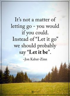 "It's not a matter of letting go - you would if you could. Instead of ""Let it go"" we should probably say ""Let it be"". - John Kabat-Zinn #inspirationalquote #quotes"
