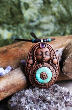 Mandala Woman Necklace. With Chrysocolla and Amethyst. Handcrafted Clay and Gemstone Necklace.  CHRYSOCOLLA: Associated with Sagittarius Peace