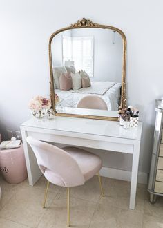 I couldnt be more excited to share my new bedroom vanity set up with you I bought t. Room Ideas Bedroom, Bedroom Sets, Bedroom Furniture, Bedroom Decor, Fancy Bedroom, Master Bedroom, Pink Gold Bedroom, Glam Bedroom, Vanity Set Up