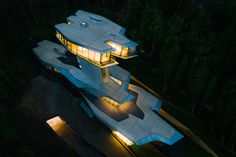 """New photographs and a movie revealZaha Hadid's only residence – a house in the Barvikha Forest near Moscow, for a man she called the """"Russian James Bond""""."""
