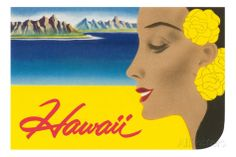 Hawaii, Graphic of Diamond Head and Woman Prints at AllPosters.com. $99 40x30