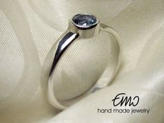 AQUAMARINE SILVER RING Solitaire Ring Stackable Ring by Emostudio