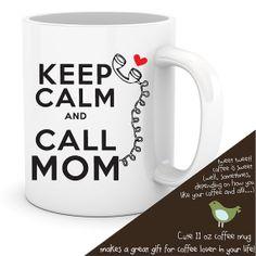 coffee mug keep calm and call mom personalized coffee mug on Etsy, $15.00